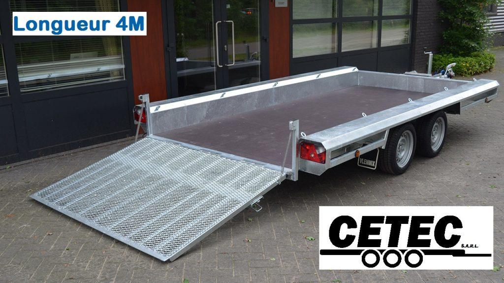 CETEC France Porte Engins 4M - 2 Essieux (av) - jusqu'a 3.5 tonnes - chassis galvanisé à chaud