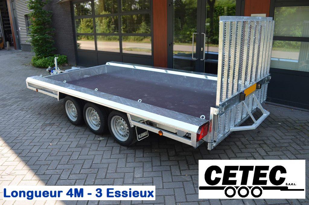 CETEC France Porte Engins 4M - 3 Essieux (av) - jusqu'a 3.5 tonnes - chassis galvanisé à chaud