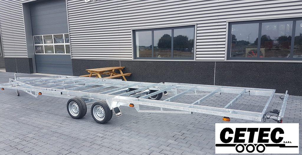 CETEC France Chassis Tiny House 7.8M - 2 Essieux (av) - PTAC 3.5T - Essieux 1800KG - Galvanisé à chaud