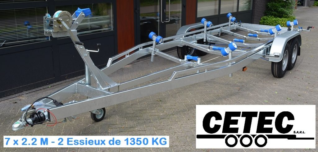 CETEC France Porte Bateau - 7 x 2.2 - 2 Essieux 1350 (av)