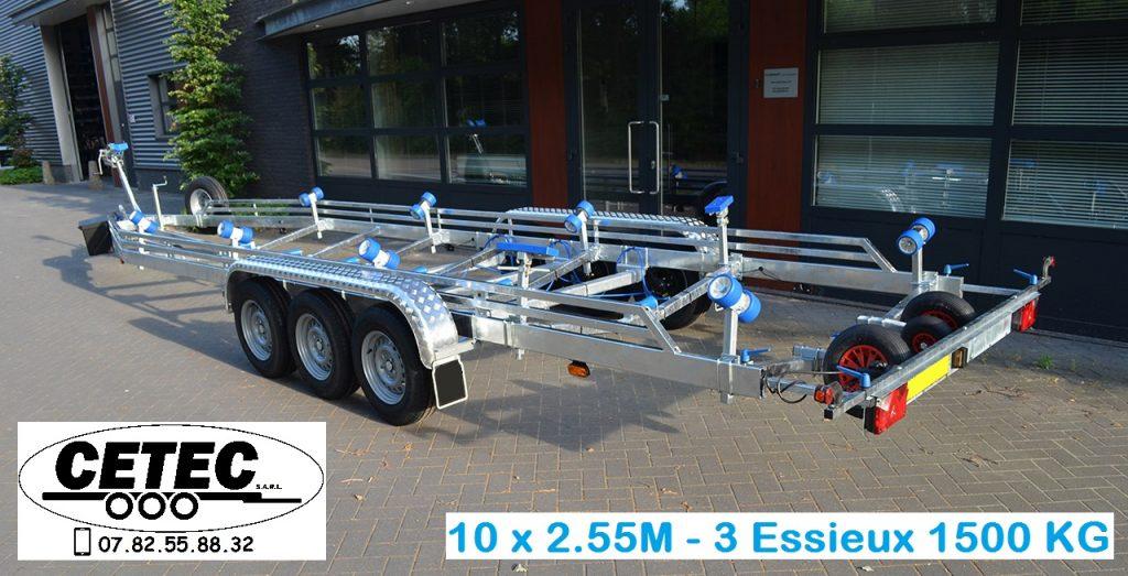 CETEC France porte Bateau - 10 x 2.55 - 3 Essieux 1500 (ar)
