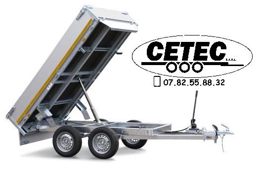 CETEC France - Remorque Benne Eduard 2.56x1.50M PTAC 750 à 2700KG à 1 ou 2 essieux, pompe manuelle