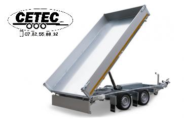 CETEC France - Remorque Benne Eduard 3.10x1.60M PTAC 750 à 3000KG à 2 essieux, pompe manuelle