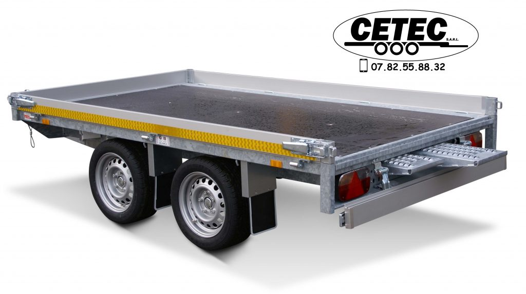 CETEC France - remorque plateau multifonctions 2.6x1.5 2 essieux 750KG ridelles alu de 100mm avec rampes acier 2450mm