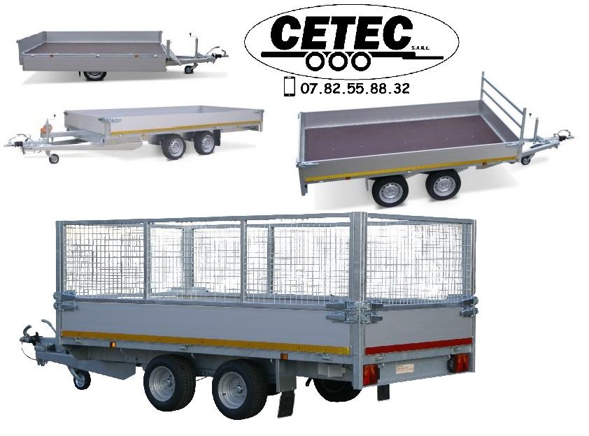 CETEC France plateau multifonctions SP5450 en 1 ou 2 essieux de 750KG à 2.7T, réhausse de 100 à 400mm option rehausse grillagée de 700mm rampes et logement intégré possible sur demande- 3318-3-PB30-250-72 - Multi