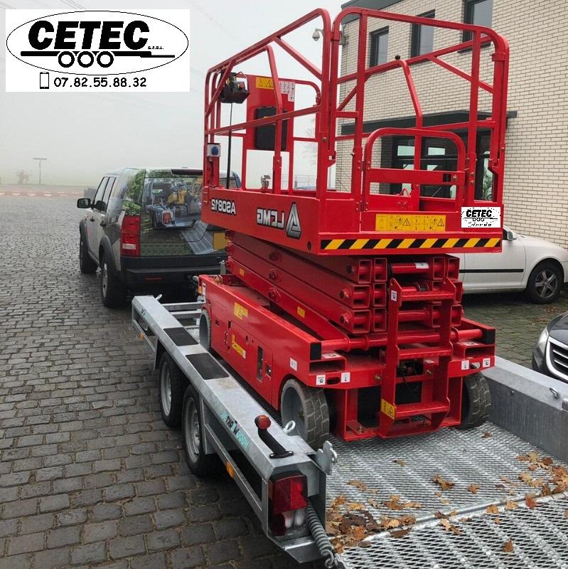 CETEC France - Porte Engins Special Nacelles Ciseaux ptac 2.7 a 3.5T faible pente - rampe extra longue 1600mm plancher structure grillage métallique