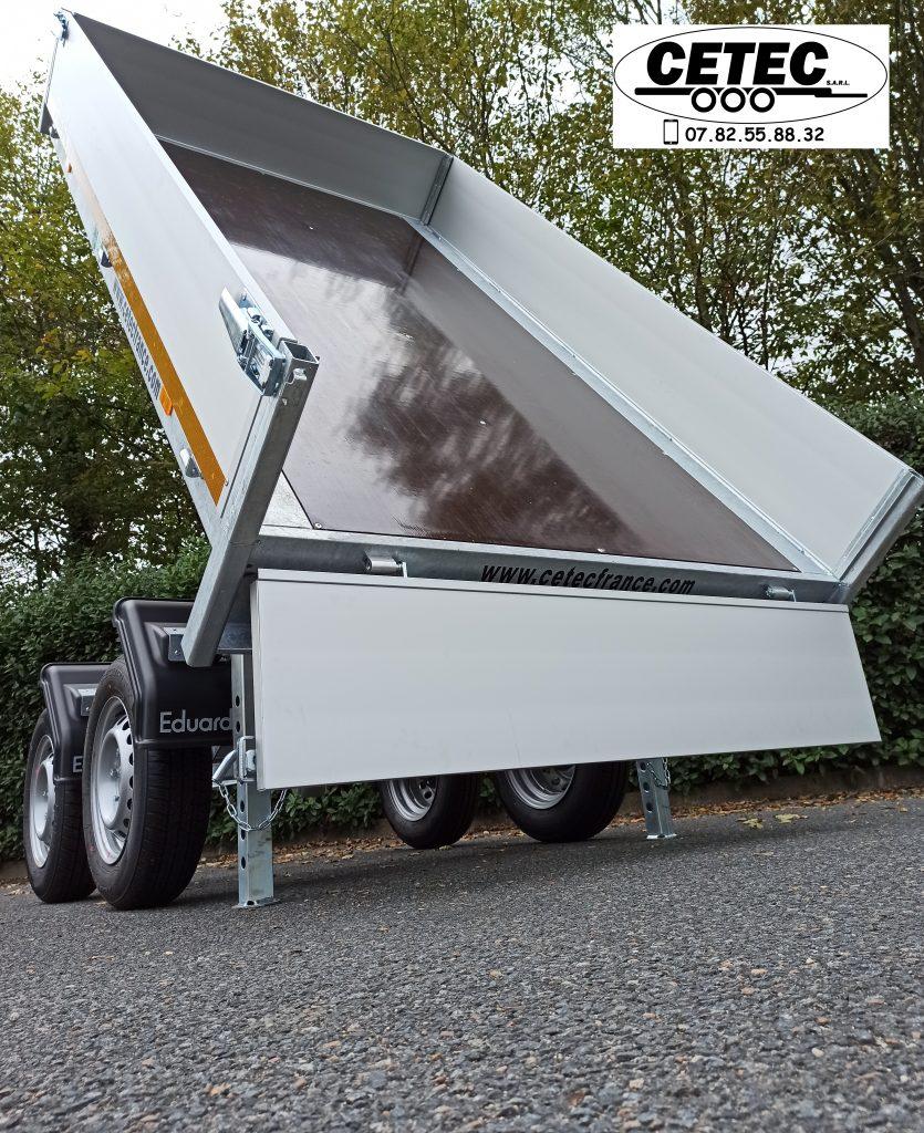 CETEC France - Remorque Benne Eduard 2.56x1.50M en 2 essieux PTAC 750KG, ridelles alu 300MM et pompe hydraulique manuelle