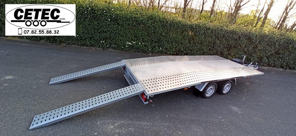 CETEC France - Porte Voitures 2.7T plateau 4.50 x 2.00M 2 essieux Alko freinés plancher intégrale alu