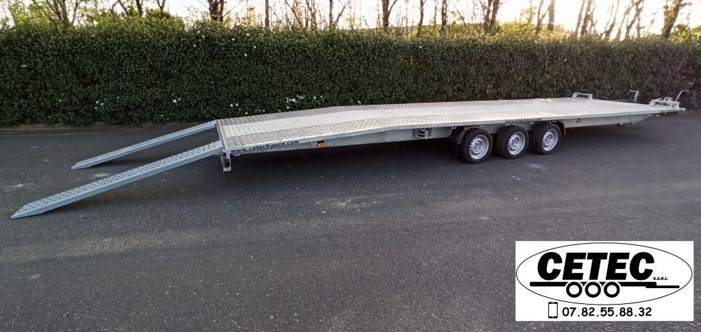 CETEC France - Porte Voitures 3.5T longueur 8.50M à 3 essieux surbaissés, plancher milieu aluminium